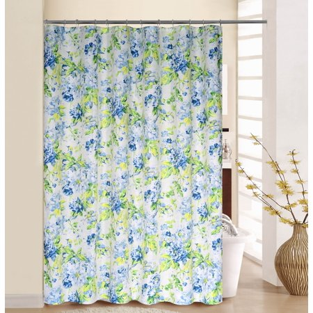 WAVERLY FLORAL ENGAGEMENT SHOWER CURTAIN WITH RINGS