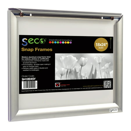 SECO Front Load Easy Open Snap Poster/Picture Frame 18 x 24 Inches, Silver Anodized Aluminum Frame (SN1824) ()