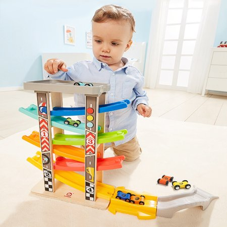 Iuhan Toddler Toys Track Boys And Girls Gifts Wood Car Ramp Racing 6 Mini Cars (Car Ramp Toy)
