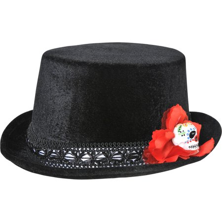 Day Of The Dead Mens Top Hat - Day Of The Dead Hat