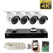 GW 8 Channel H.265 PoE NVR UltraHD 4K (3840x2160) Security Camera System with 2 x 4K (8MP) 2160p IP Camera, 100ft Night Vision, Outdoor Indoor Surveillance Camera