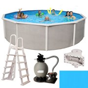 Belize 24-ft Round 52-in Deep 6-in Top Rail Metal Wall Swimming Pool Package
