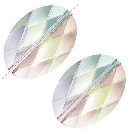 Swarovski Crystal Oval Beads - Swarovski Crystal, #5050 Oval Beads 14mm, 2 Pieces, Crystal AB