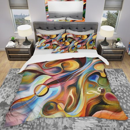 DESIGN ART Designart 'Music Beyond The Frames' Modern & Contemporary Bedding Set - Duvet Cover &