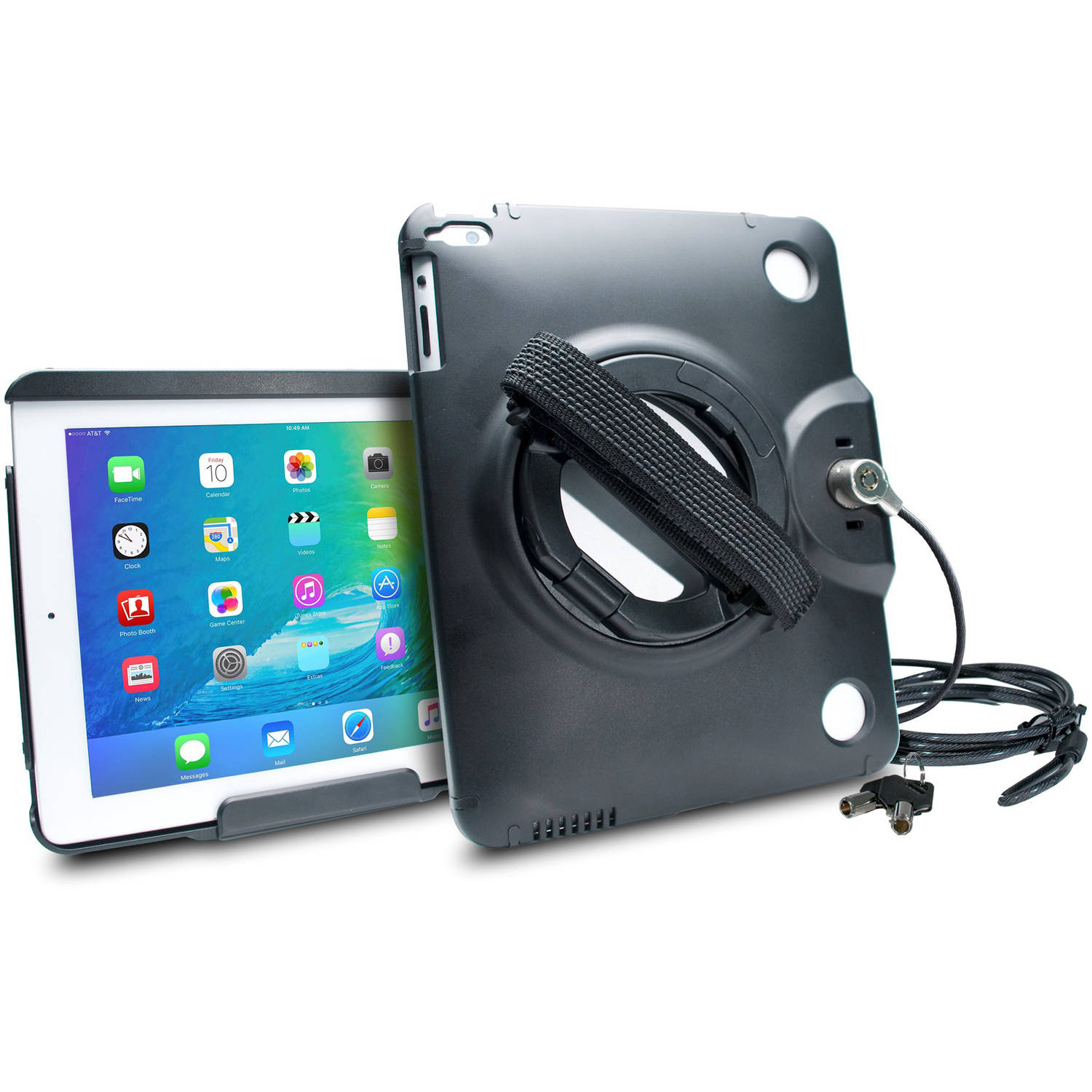 CTA Digital Anti-Theft Case with Built-in Grip Stand for Apple iPad, iPAd Air/Air 2