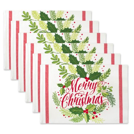 Multi Placemat (Design Imports Merry Christmas Print Kitchen Placemat Set, Set of 6, 19