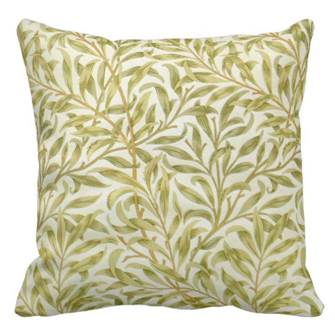 BPBOP Green Pale William Morris Willow Floral Leaves Pillowcase Cover 16x16 inch