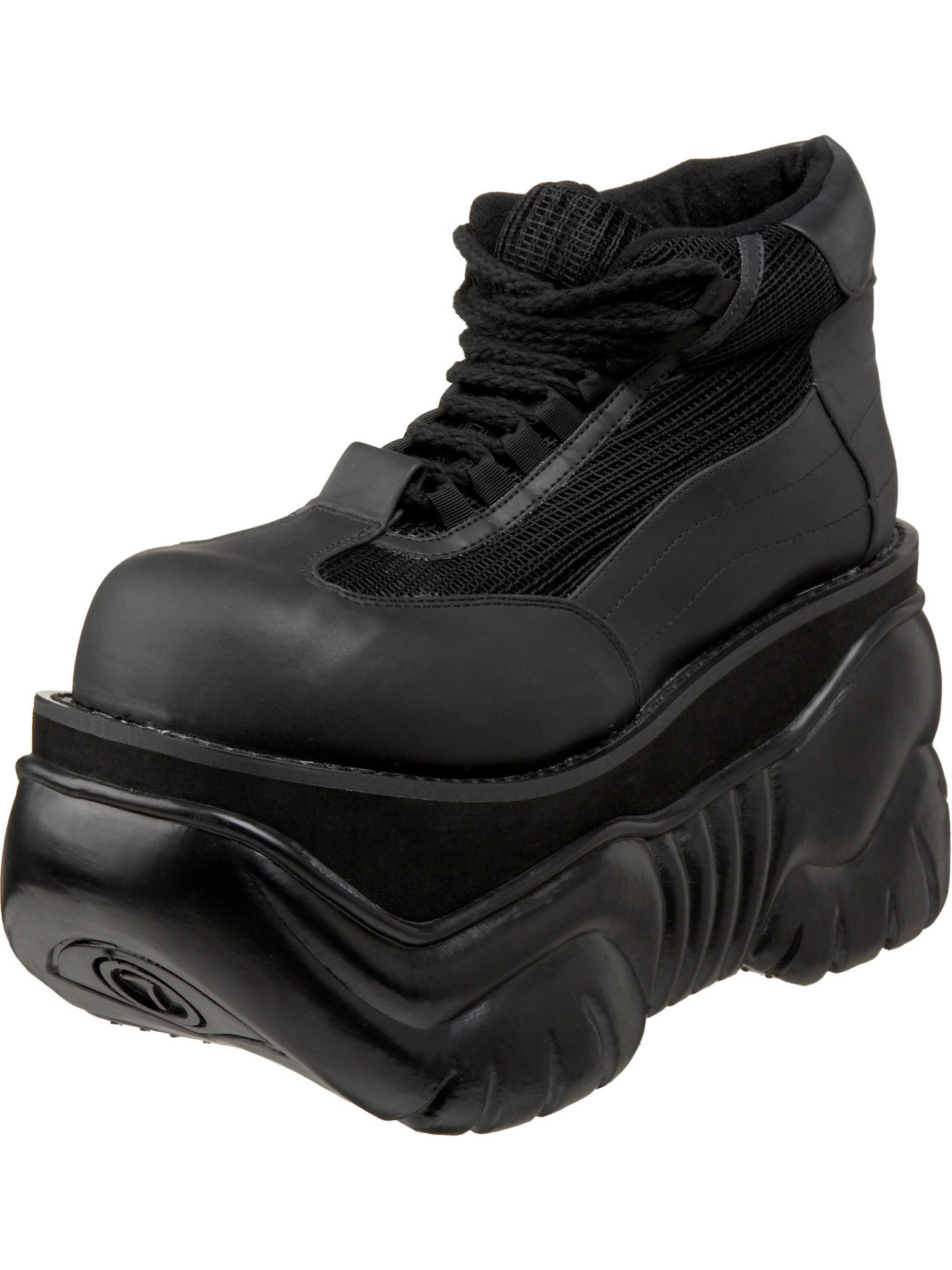 MENS SIZING 4 Inch Platform Shoe Men's Sneaker Black PU Lace Up DEMONIA