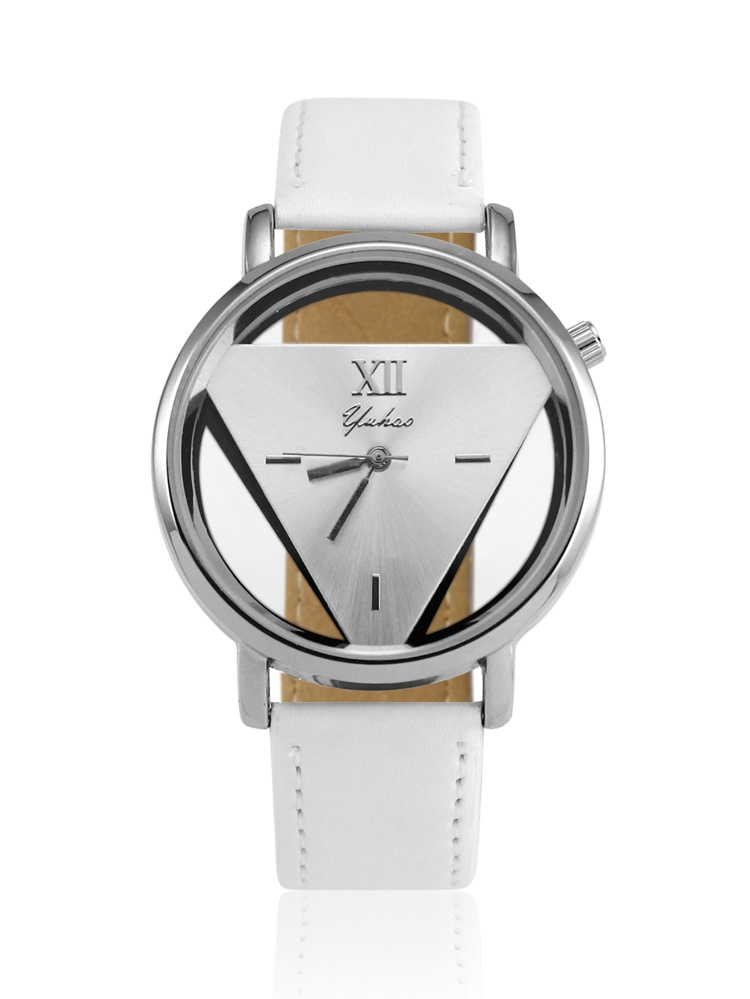 Luxury Fashion Womens Mens Stainless Steel Faux Leather Band Quartz Analog Sport Wrist Watch