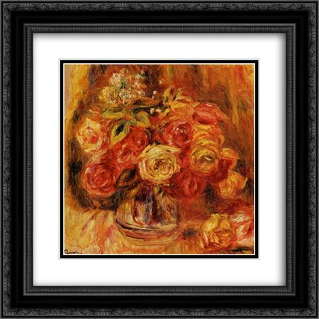 - Pierre Auguste Renoir 2x Matted 20x20 Black Ornate Framed Art Print 'Roses in a Vase'