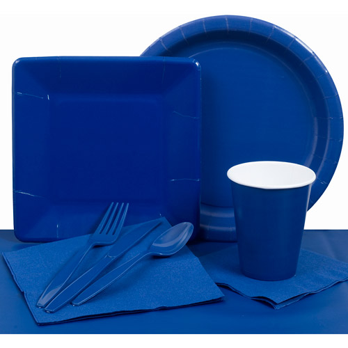 Plastic Solid Tableware Set, True Blue