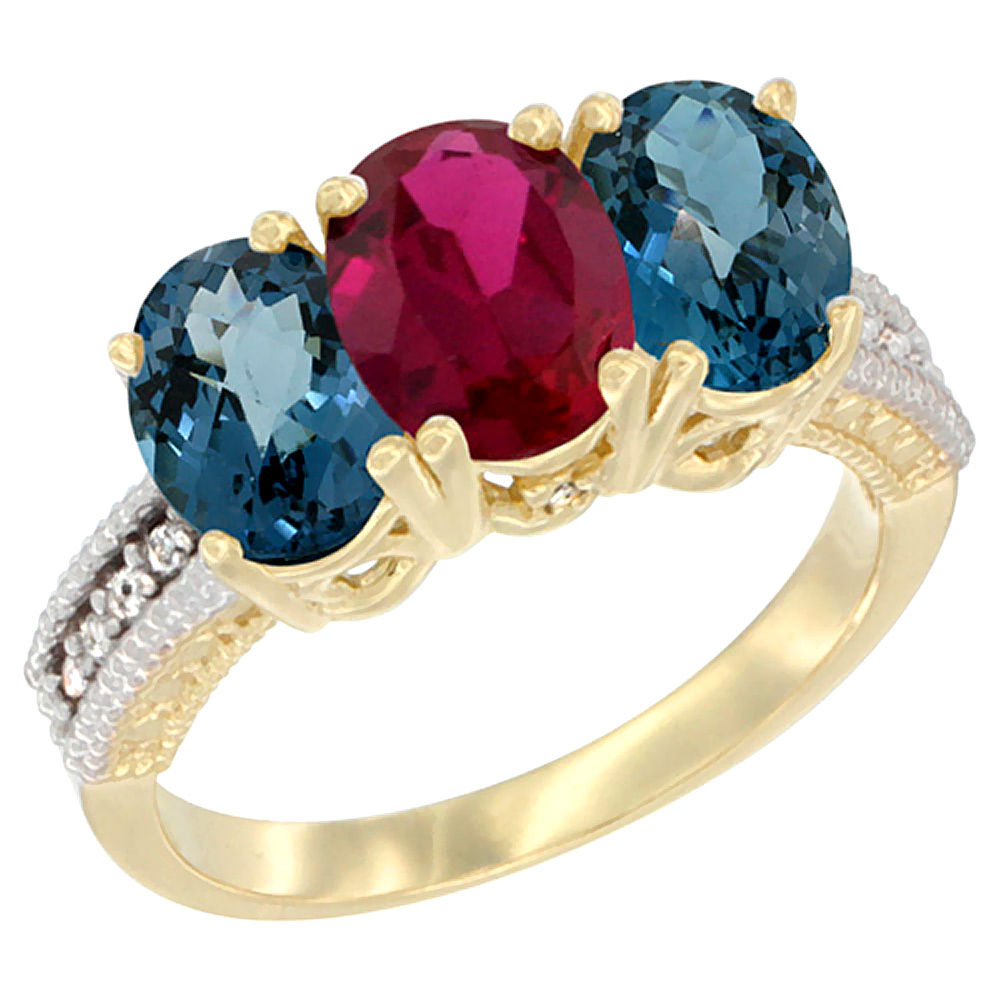 10K Yellow Gold Diamond Natural Ruby & London Blue Topaz Ring 3-Stone Oval 7x5 mm, sizes 5 10 by WorldJewels