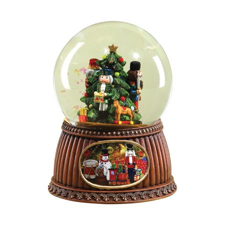 nutcrackers twelve days of christmas musical glass glitterdome snow globe - Christmas Musical Snow Globes