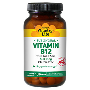 Sublingual Vitamin B-12 500 mcg by Country Life 100 Lozenges