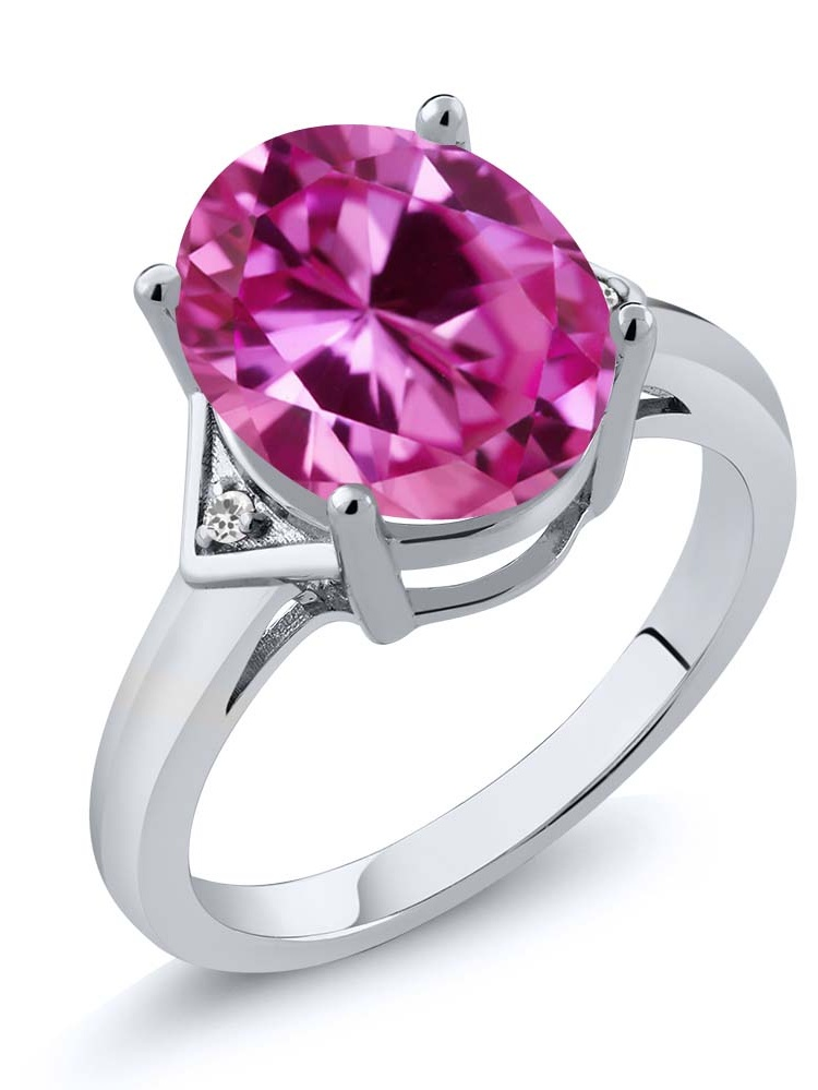 6.02 Ct Oval Pink Created Sapphire White Sapphire 18K White Gold Ring by