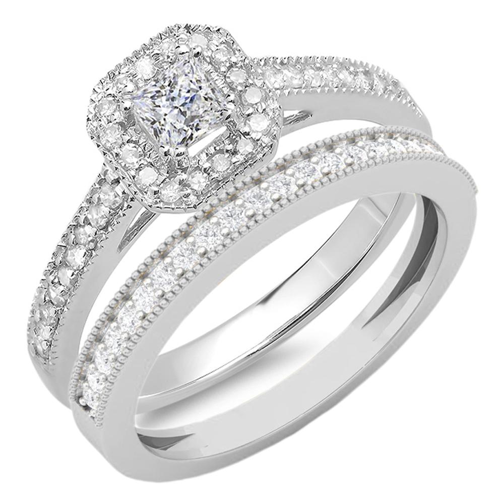 0.65 Carat (ctw) 14K Gold Princess & Round Cut White Diamond Ladies Bridal Halo Engagement Ring Set
