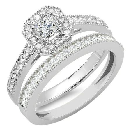 0.65 Carat (ctw) 14K Gold Princess & Round Cut White Diamond Ladies Bridal Halo Engagement Ring - 14k Princess Nose Screw