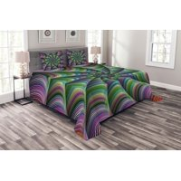 Fractal Bedspread Set, Psychedelic Tentacles Converging into Flower Form Infinity Spinning Focus Design, Decorative Quilted Coverlet Set with Pillow Shams Included, Green Purple, by Ambesonne