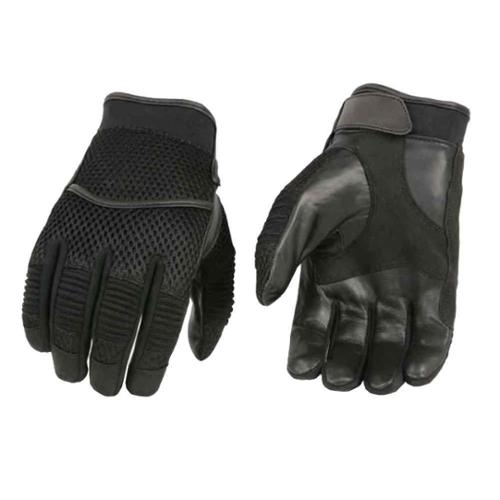 Milwaukee Leather Men's Mesh Back Racing Gloves W/ Elastic Fingers & Double Ply Palm  Black