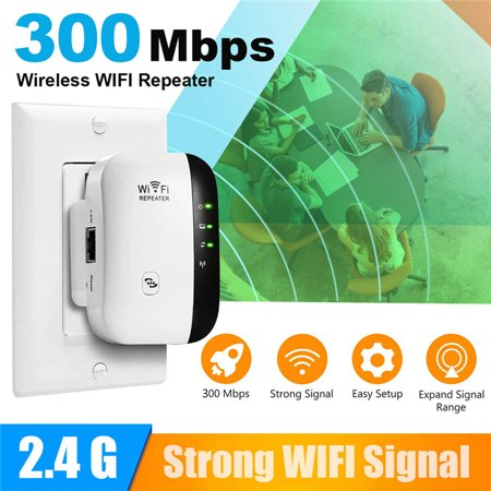 WiFi Range Extender Repeater, 300Mbps Wireless Router Signal Booster Amplifier Supports Repeater/AP, 2.4G Network with Integrated Antennas WLAN Port ()
