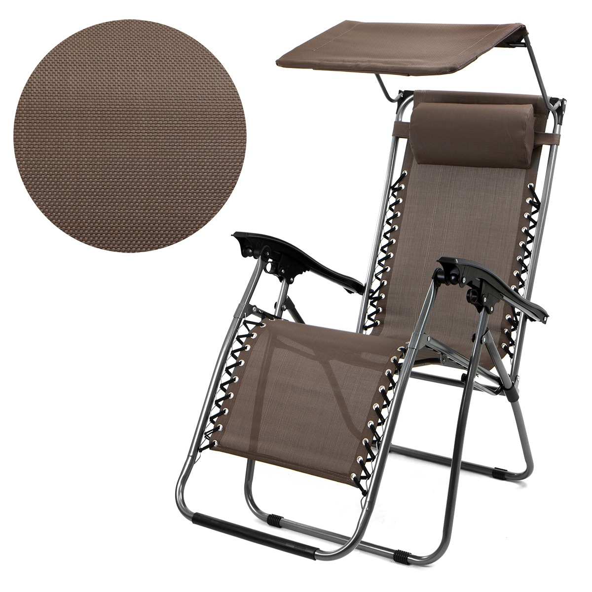 Patio Zero Gravity Chair Folding Lounge with Canopy Shade & Cup Holder Outdoor Yard Beach - Brown