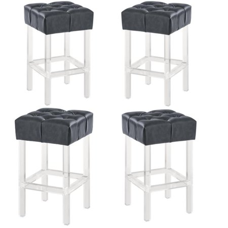 """Kara 26"""" Counter Height Barstool in Grey Faux Leather with (Set of 4)"""