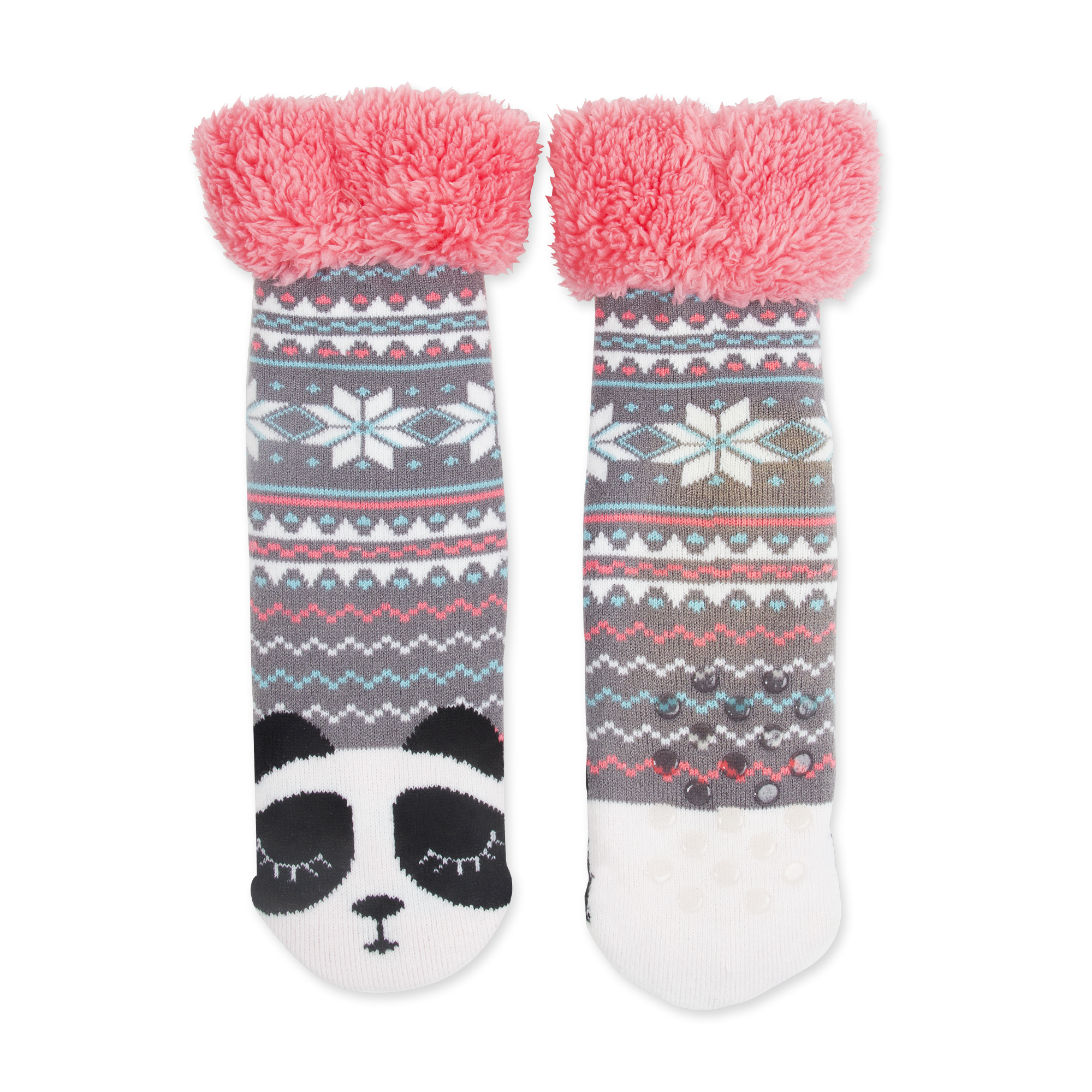 Girls' Panda Fair Isle Fuzzy Babba Slipper Socks - Walmart.com