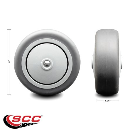 """4"""" x 1.25"""" Gray Thermoplastic Rubber Wheel Only with Precision Ball Bearing - 3/8"""" Bore - Non Marking/Non Marring - 190 lbs Capacity -  Service Caster Brand"""