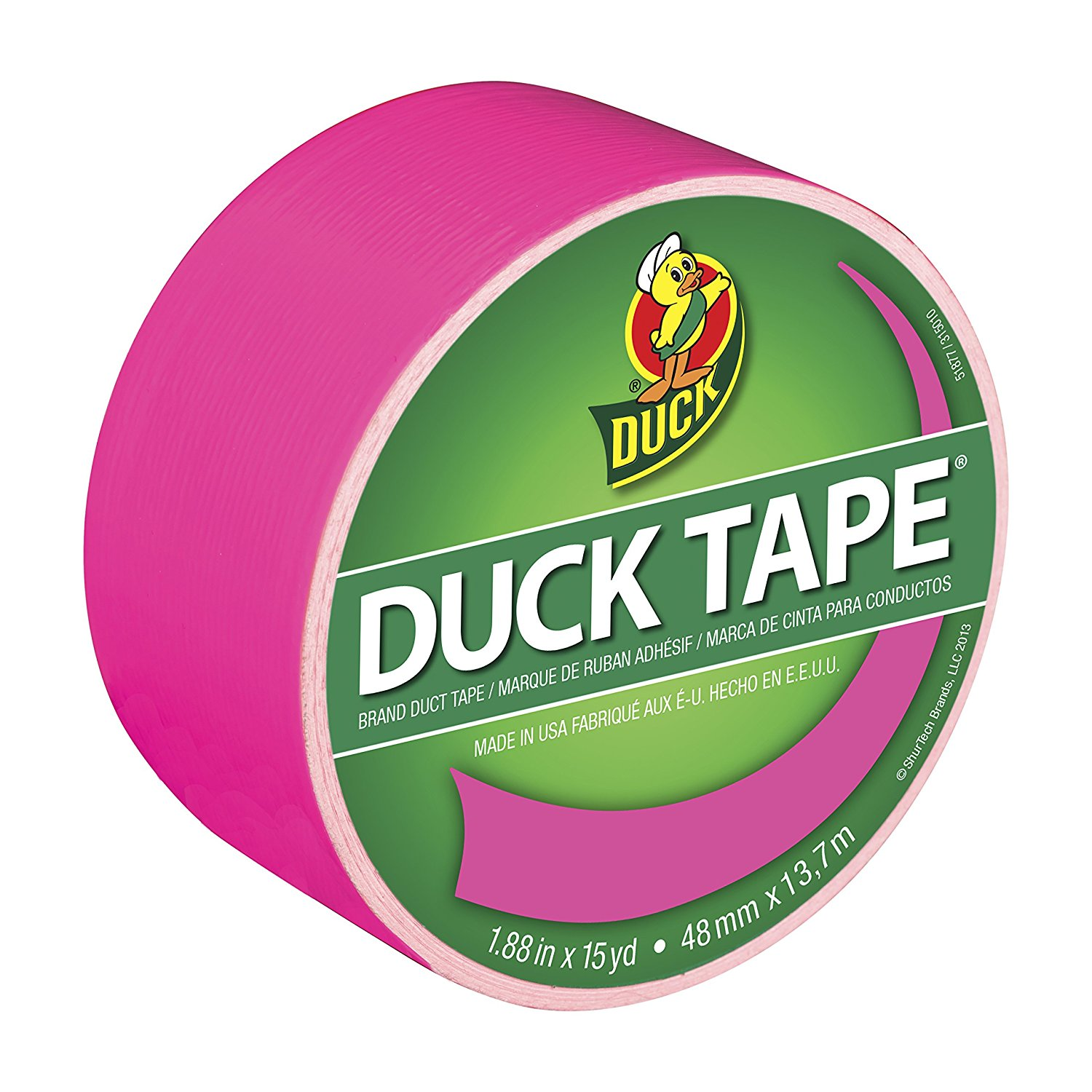 Brand 1265016 Color Duct Tape, Neon Pink, 1.88 Inches x 15 Yards, Single Roll By Duck Ship from US