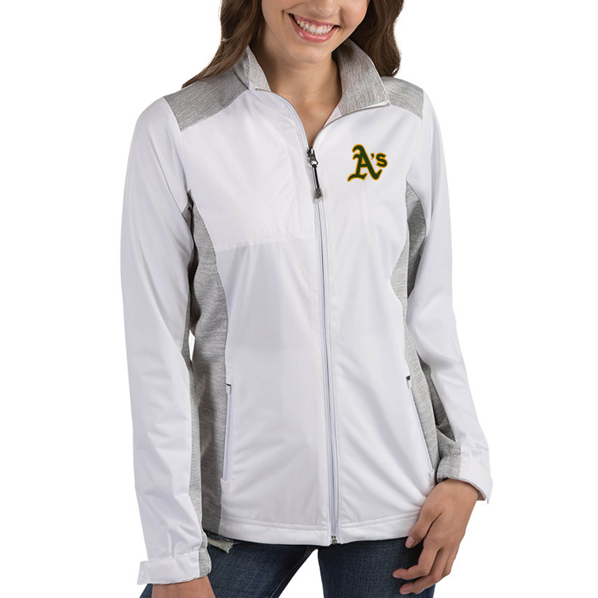 Oakland Athletics Antigua Women's Revolve Full-Zip Jacket - White