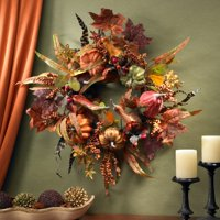 Nearly Natural Pumpkin and Berry Wreath