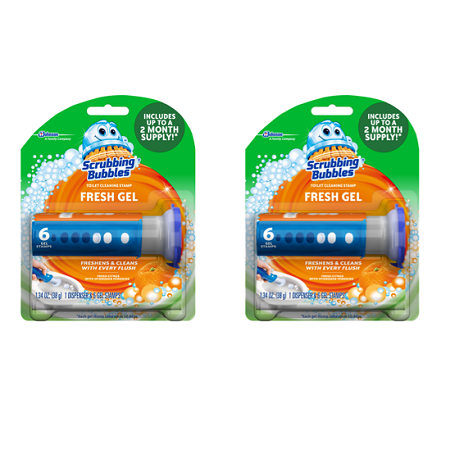 (2 pack) Scrubbing Bubbles Fresh Gel Toilet Cleaning Stamp, Citrus, Dispenser with 6 Stamps