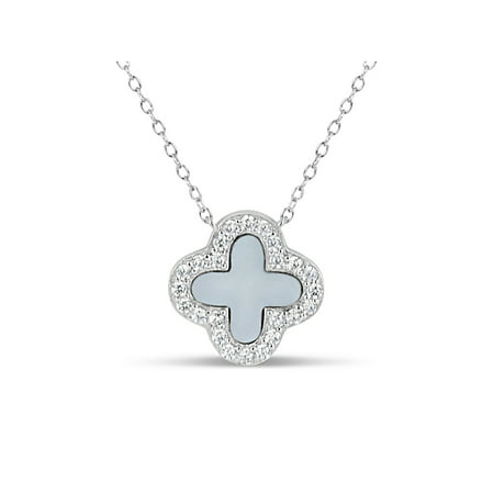 8mm Mother Of Pearl and White Cubic Zirconia Sterling Silver Rhodium Plated Clover Necklace, 18