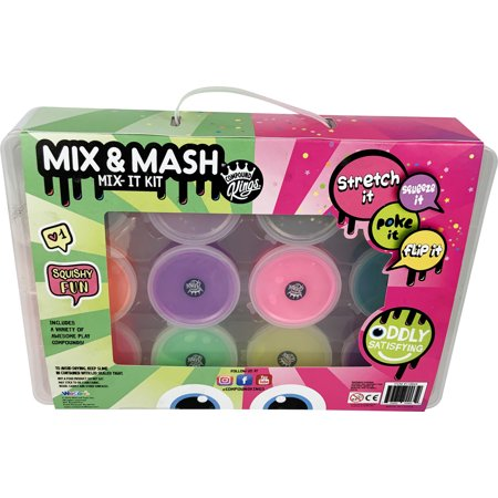 Compound Kings Slime Mix and Mash Kit with Glitzy, Fluffy & Neon Slime 1.38 lbs/22 oz