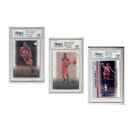 LeBron James 2003 Upper Deck 3-Card Rookie Card Bundle PGI 10
