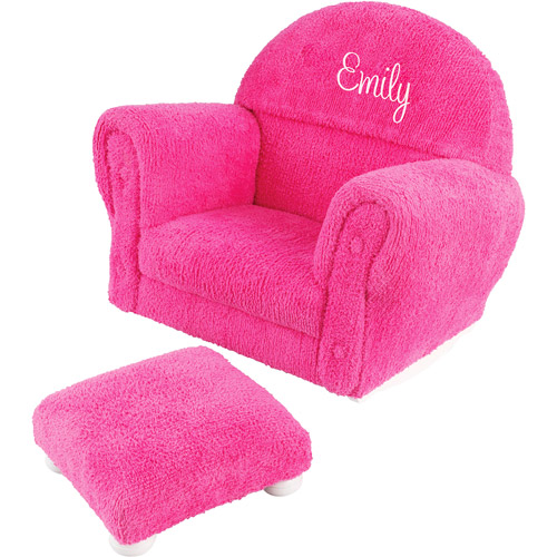 KidKraft - Personalized Bubble Gum Pink Chenille Rocker and Ottoman, White Script Girl's Name