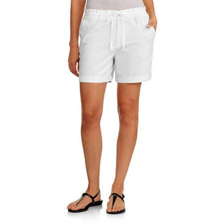 Faded Glory Women's Soft Linen Shorts - Walmart.com
