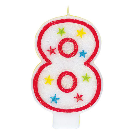 Birthday Candle Happy Cake Topper Glitter Number 8