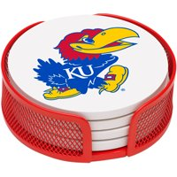 Stoneware Drink Coaster Set with Holder Included, University of Kansas