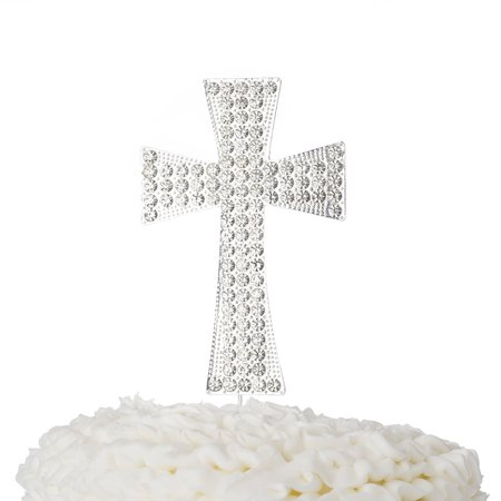 Cross Cake Topper, First Communion, Religious Baptism, Christening, Child Dedication Keepsake Decoration (Silver)