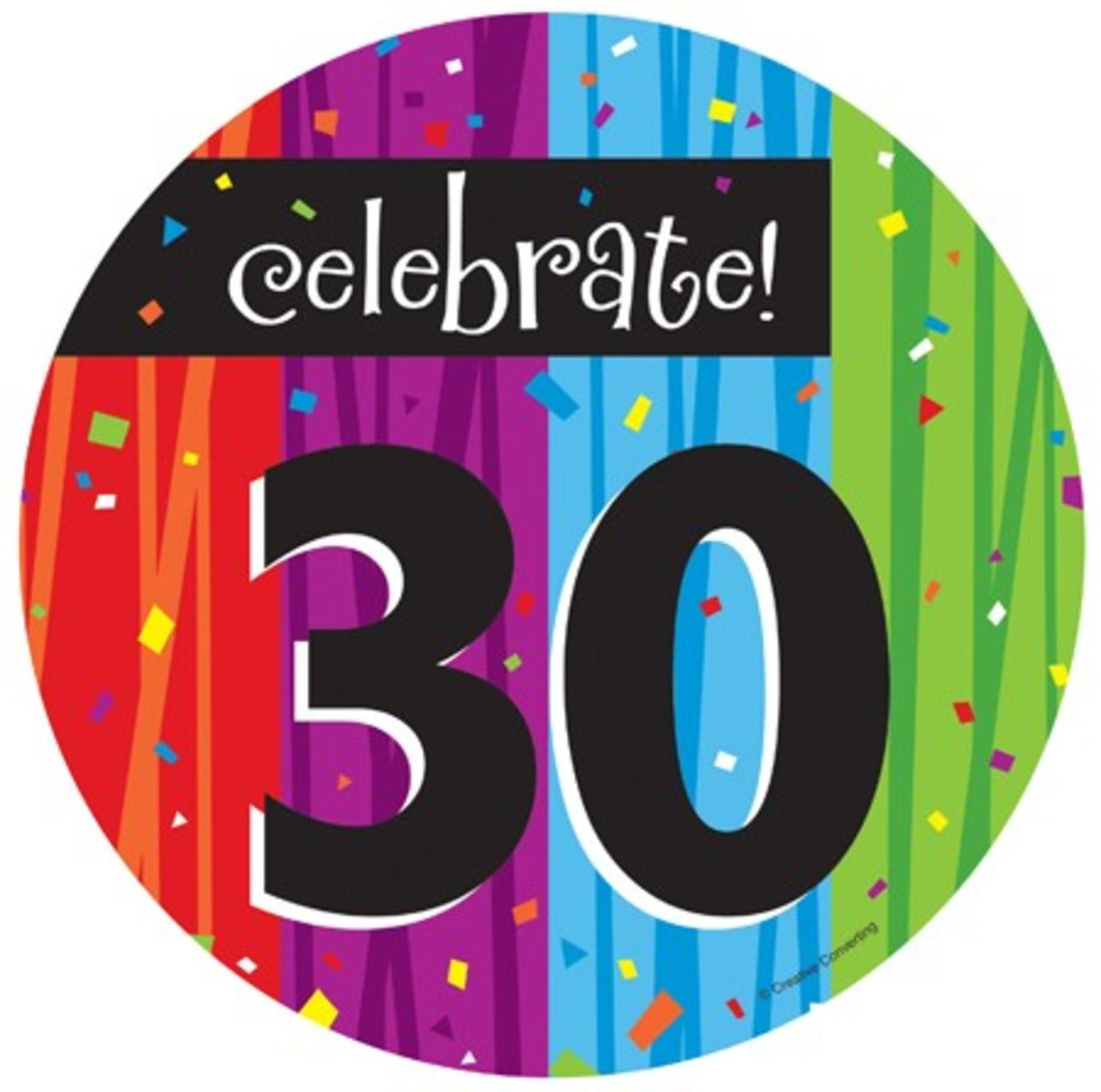 "Club Pack of 96 Milestone Celebrations ""celebrate!"" ""30"" Birthday Luncheon Party Plates 7"""