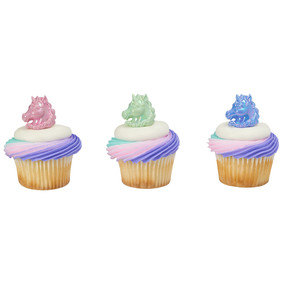 24 Unicorn Cupcake Cake Rings Birthday Party Favors Cake Toppers