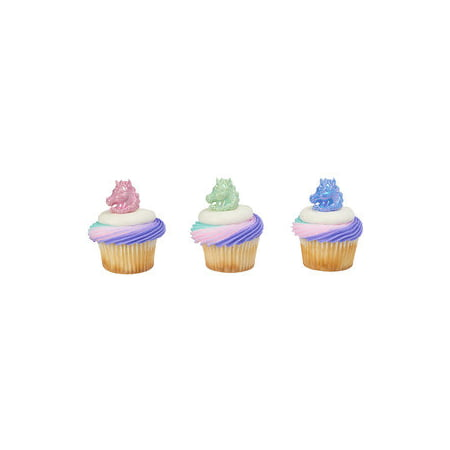 24 Unicorn Cupcake Cake Rings Birthday Party Favors Toppers