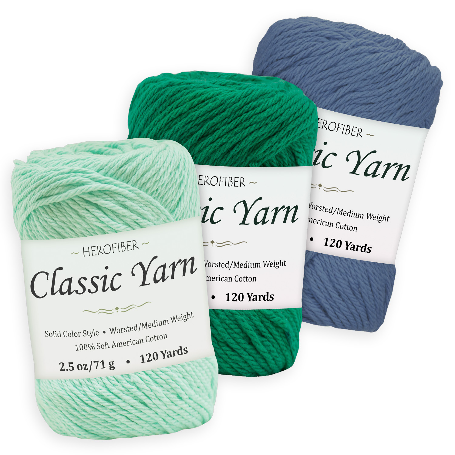 Eggshell Blue Assortment for | Coconut White WorstedMedium Weight Bordeaux Red Cotton Yarn 2.5 oz Each 3 Solid Colors