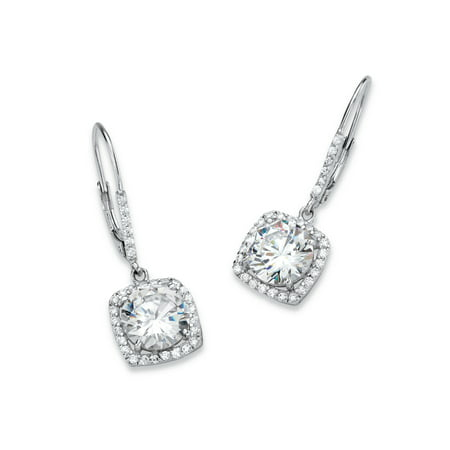 6.54 TCW Round Cubic Zirconia Halo Drop Earrings in Platinum over Sterling Silver