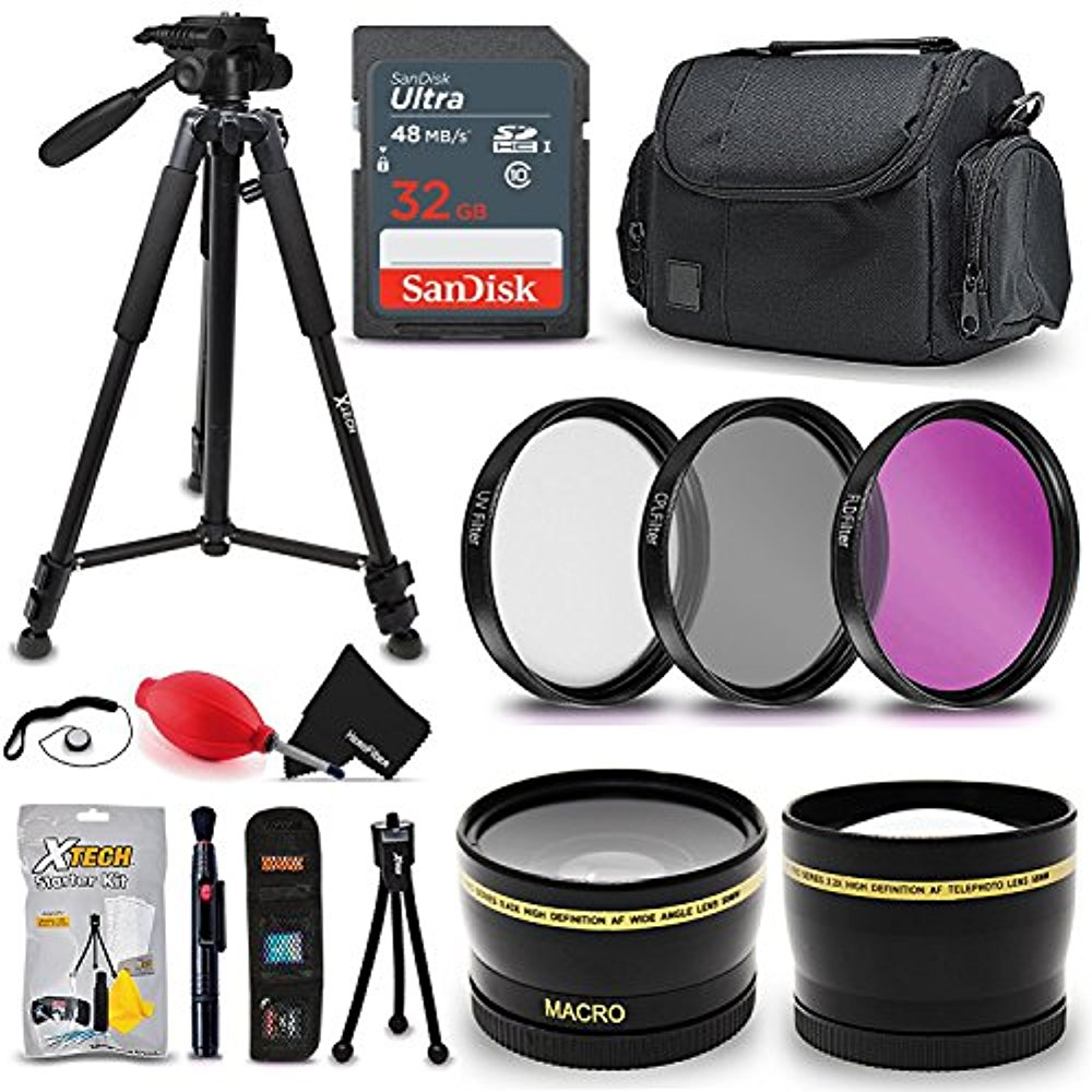 Professional 72MM Accessories Bundle Kit for Nikon, Canon & Sony DSLR Camera with a 72mm Lens - Kit Includes 72mm Wide Angle / Telephoto 2x Lens, 32GB SD Memory Card, Case, Tripod + MORE