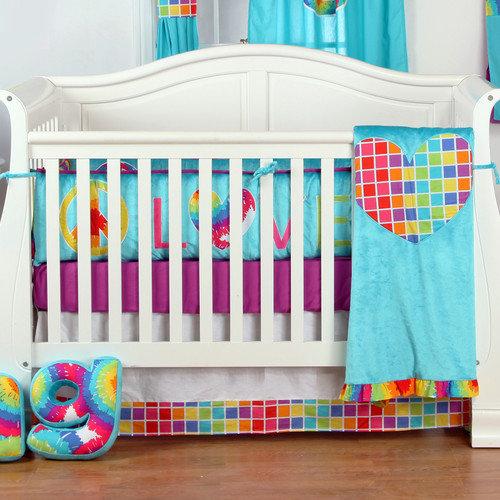 One Grace Place Terrific Tie Dye Infant 4 Piece Crib Bedding Set