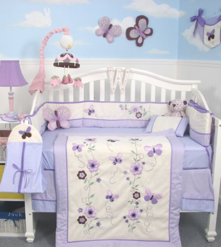 SoHo Lavender Flower Garden Baby Crib Nursery Bedding Set