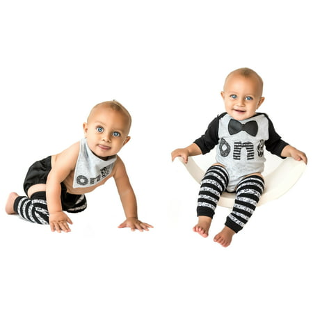 1st Baby Boys First Birthday Onesie Classy Outfit Set Bow Tie Shirt Black White Cake Smash 5 Piece Set 12-18 mnth](1st Birthday Boy Outfits)
