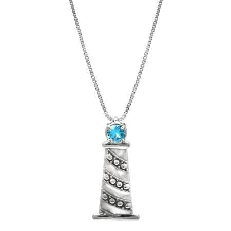 Sterling Silver and Blue Topaz Lighthouse Necklace Pendant with 18